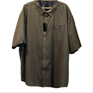 NWT Men Point Zero short sleeve button down shirt blue pattern  Size 4XL